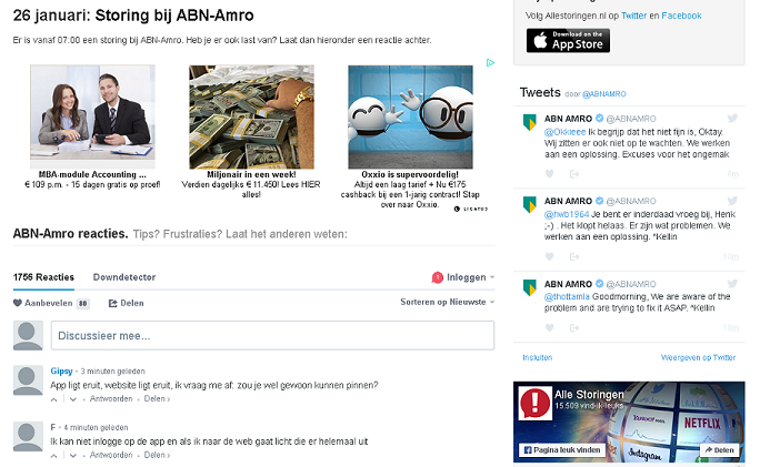 patchavond website onbereikbaar meldpunt abn amro storing